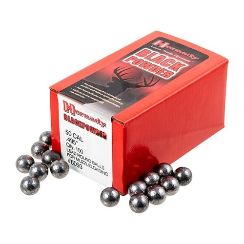 "50 Cal (.495"") Lead Round Ball 100/Box"